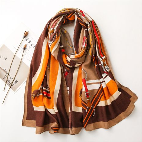 New Korean belt chain cotton and linen gauze women's shawl warm scarf dual-use NHGD270015's discount tags