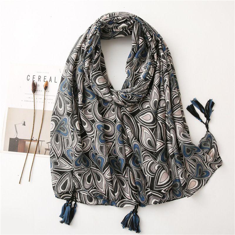 Visual cotton and linen Korean stitching geometric black long scarf shawl dual-use NHGD270016