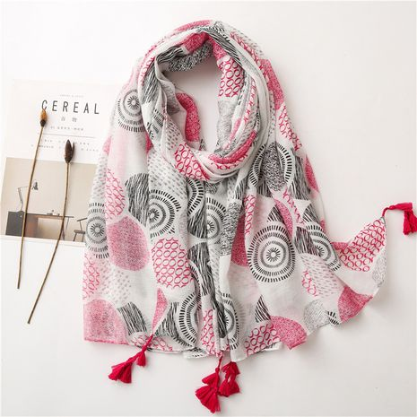 white floral thin cotton yarn fringed scarf sunscreen shawl  NHGD270018's discount tags