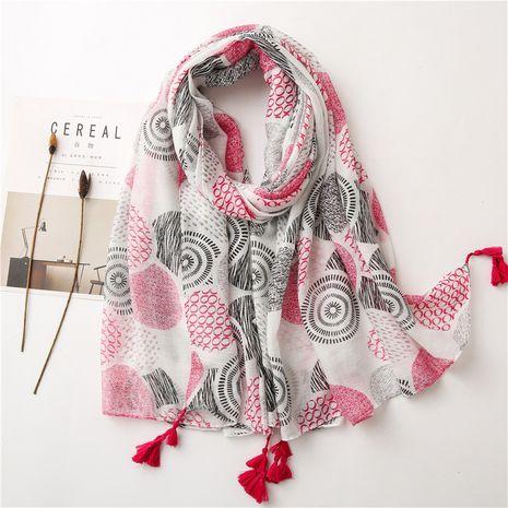 chal protector solar con flecos de hilo de algodón fino floral blanco NHGD270018's discount tags