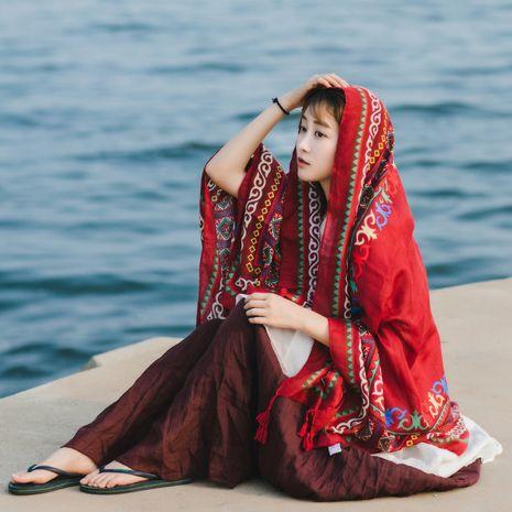 nouvelle écharpe en soie coton et lin long châle de plage crème solaire NHCM270019's discount tags