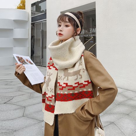 Winter knitted warm wool shawl soft Christmas deer scarf NHCM270026's discount tags