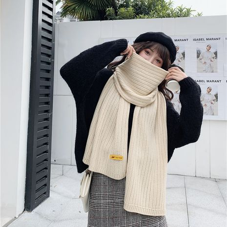 autumn and winter new solid color knitted wool warm scarf soft cute shawl NHCM270027's discount tags