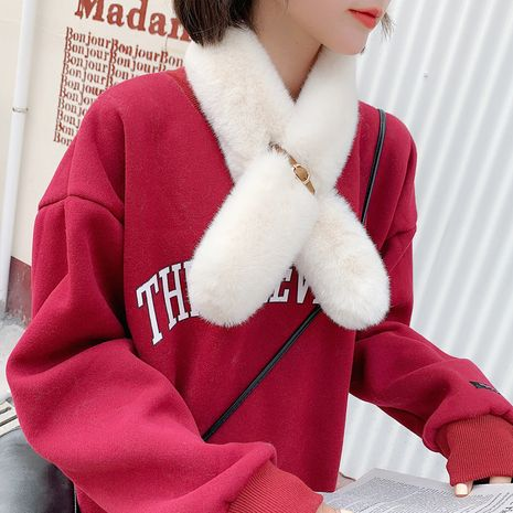 autumn and winter imitation rex rabbit fur round leather buckle Korean all-match soft winter scarf NHCM270030's discount tags