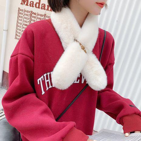 Otoño e invierno imitación de piel de conejo rex hebilla de cuero redonda bufanda de invierno suave de todo fósforo coreano NHCM270030's discount tags