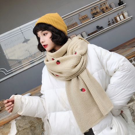 Korean thick knit long warm wool scarf NHCM270033's discount tags