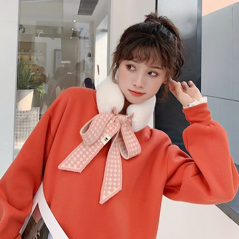 Korean new plush knitted wool winter imitation rabbit fur warm scarf NHCM270037's discount tags