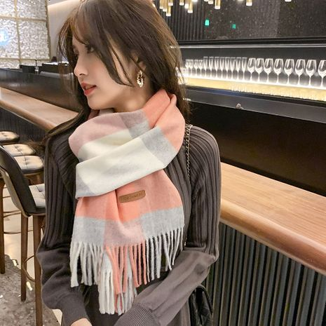 British large plaid  thickened long cashmere warm scarf NHMN270118's discount tags