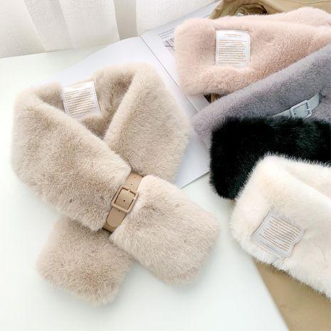 Belt buckle plush collar women autumn and winter Korean warm and fashion all-match cross scarf NHMN270120's discount tags