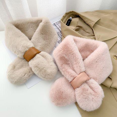 Leather plush collar korean warm fashion all-match cross scarf NHMN270121's discount tags