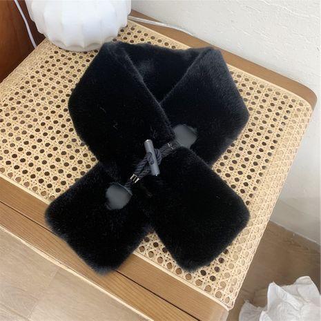 Cordón de cuero hebilla cuello de felpa mujer otoño e invierno bufanda cruzada cálida y de moda coreana NHMN270122's discount tags