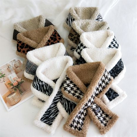 Double-sided knitted curly plush  korean warm and fashion all-match cross scarf  NHMN270124's discount tags