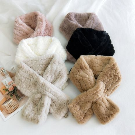 Pure color line plush Korean long thickened warm double-sided scarf NHMN270125's discount tags