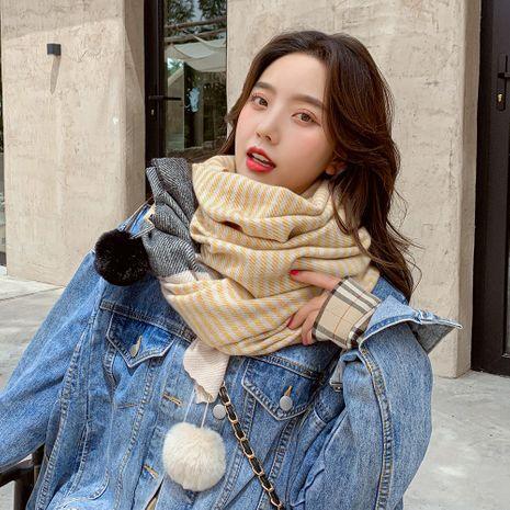 Bufanda de doble uso a rayas de doble bola de moda coreana larga y suave mantón cálido NHMN270114's discount tags