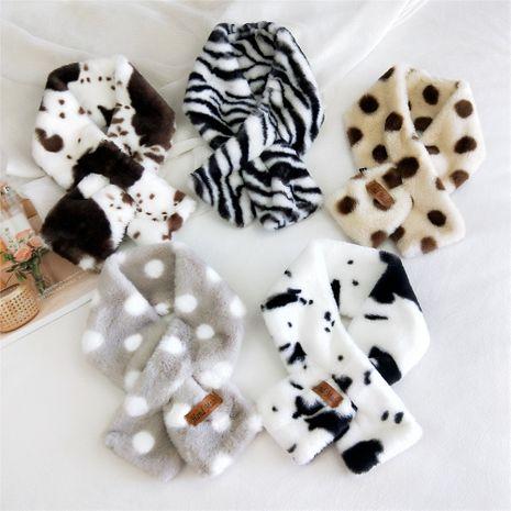 Korean new wave dot plush collar warm fashion imitation rex rabbit fur cross scarf NHMN270126's discount tags