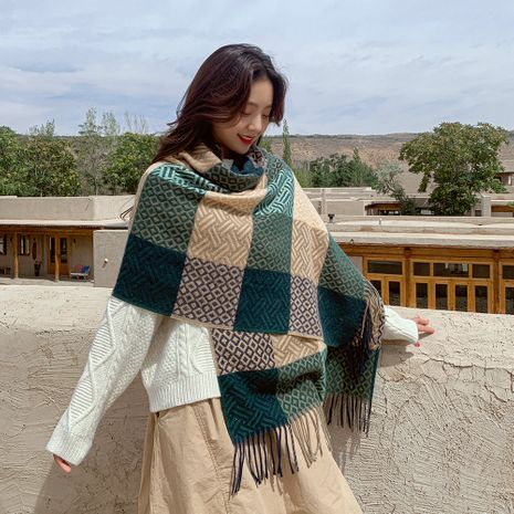 Water pattern square  long polyester warm tassel scarf shawl NHMN270127's discount tags