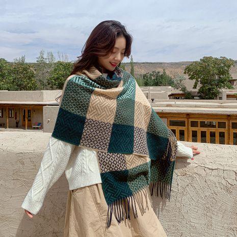 Chal de bufanda de borla cálida de poliéster largo cuadrado de patrón de agua NHMN270127's discount tags