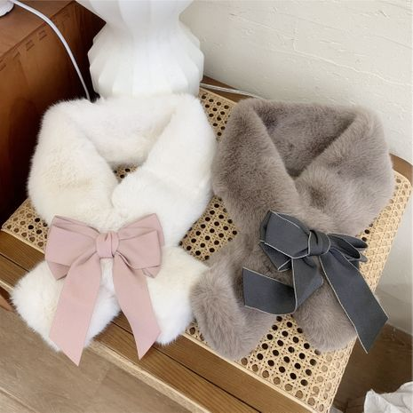 Bowknot plush collar women autumn and winter Korean warm and fashion all-match cross scarf NHMN270128's discount tags