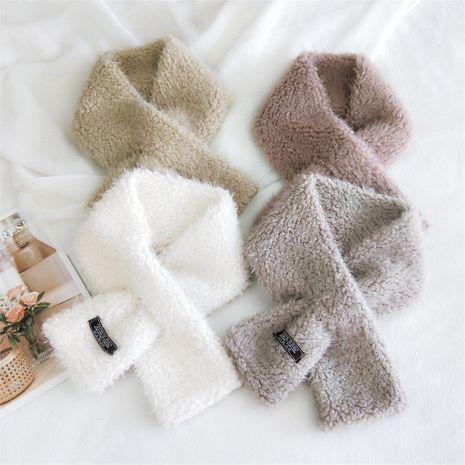 Pure color plush women's autumn and winter Korean long warm double-sided scarf NHMN270132's discount tags