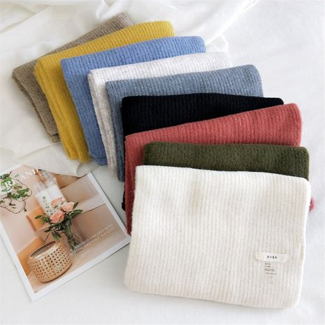 Pure color knitted  scarf  NHMN270133's discount tags