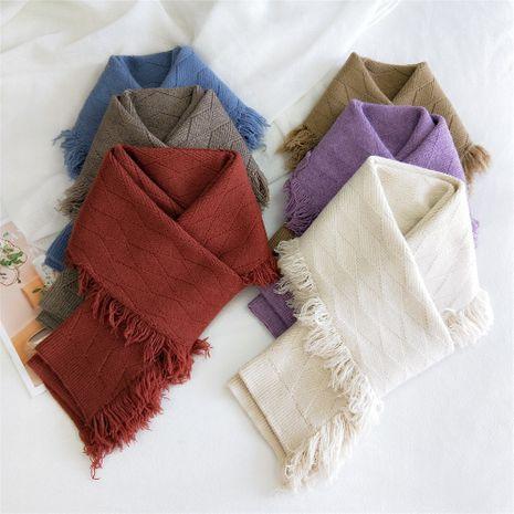 Diamond plaid women's korean long all-match fashion warm double-sided two-use tassel scarf NHMN270134's discount tags