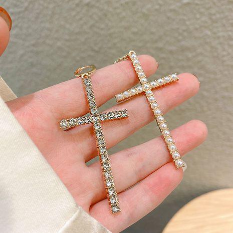 Korean diamond-studded super flash cross asymmetrical pearl earrings NHQC270158's discount tags