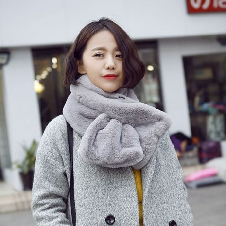 Korean  new faux fur thickening comfort and warm imitation rabbit fur pure color scarf NHCM270028's discount tags