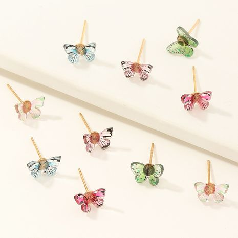 Korean children's color dripping butterfly earrings set NHNU270221's discount tags