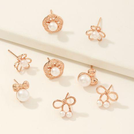 Korean children's new  bow stud earrings set NHNU270222's discount tags
