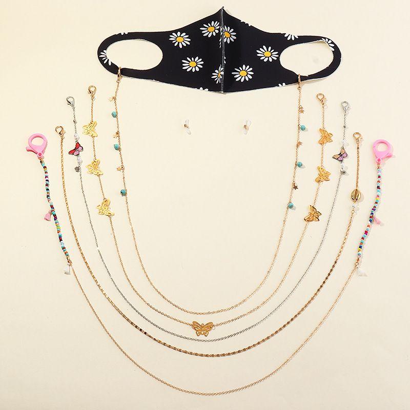 new mask lanyard soft ceramic rice beads metal chain  NHAU270233