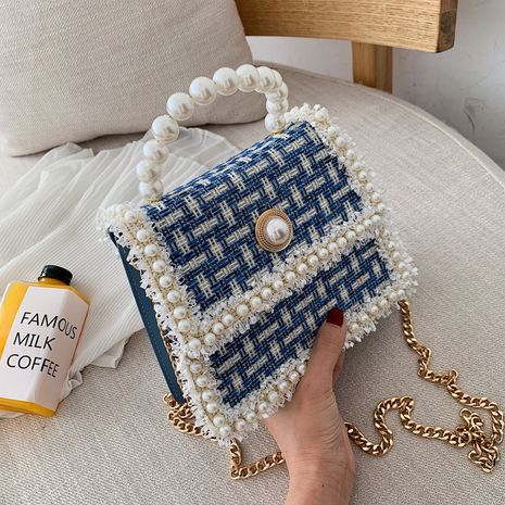 new Korean fashion pearl wild  chain shoulder messenger small square bag NHLH270244's discount tags