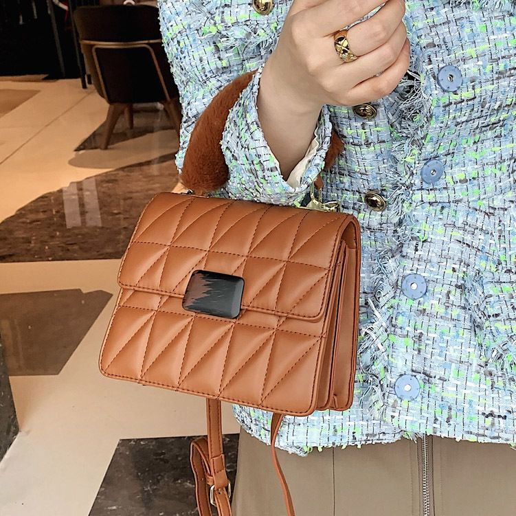 furry portable new wave korean  rhomboid shoulder messenger bag  NHLH270277