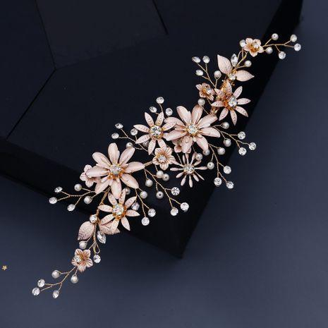 Korean wedding head flower  soft copper wire handmade hair accessories pearl crystal edge clip  NHHS270298's discount tags