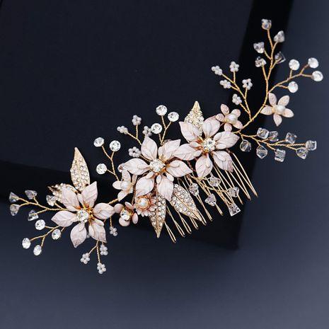 Korean wedding  bridal  flower pearl insert  handmade crystal  plate hair comb NHHS270303's discount tags