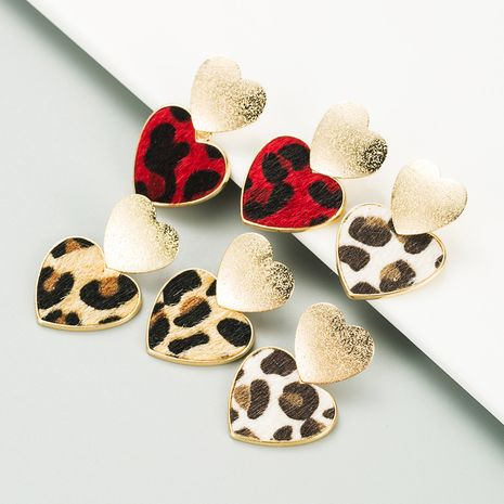 hot sale leopard-print alloy heart-shaped alloy frosted earrings  NHLN270332's discount tags