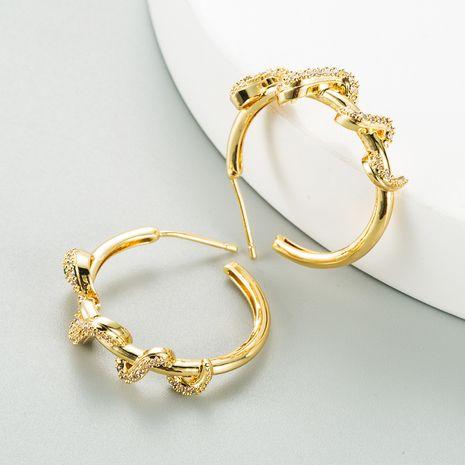 Pendientes de circonita con micro incrustaciones bañados en oro en forma de serpiente creativa de moda NHLN270336's discount tags