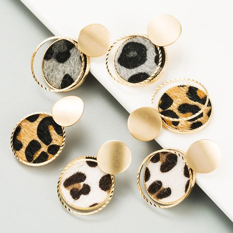 fashion  geometric round alloy double leopard earrings NHLN270338's discount tags