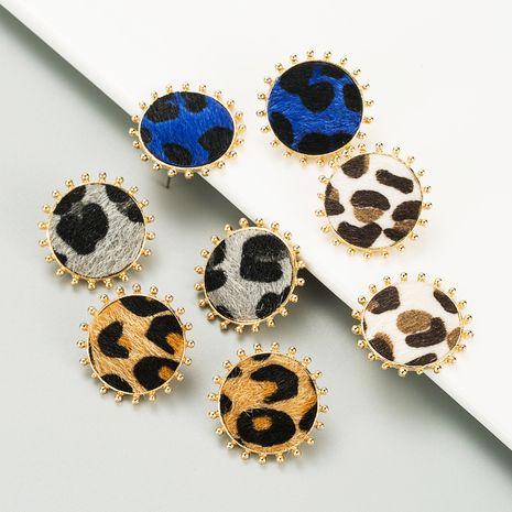 aretes simples redondos de aleación con estampado de leopardo NHLN270342's discount tags