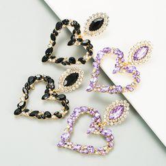 heart-shaped alloy inlaid rhinestone retro exaggerated earrings NHLN270348
