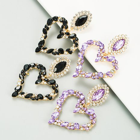 heart-shaped alloy inlaid rhinestone retro exaggerated earrings NHLN270348's discount tags