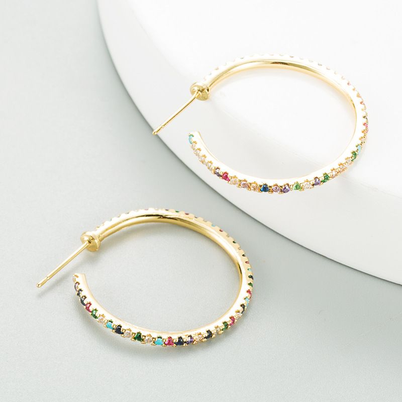 new C-shaped pure copper  micro-inlaid color zircon fashion round earrings NHLN270351