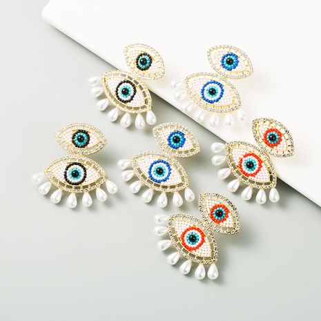 Demon Eye Exaggerated  Pearl Alloy Rhinestone Earrings  NHLN270352's discount tags