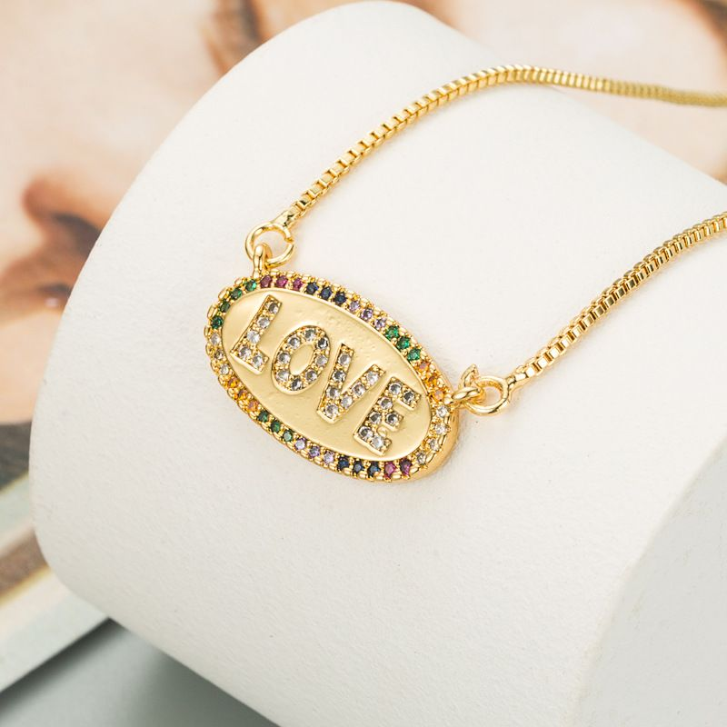 fashion trend copper gold-plated micro-inlaid color necklace  NHLN270354