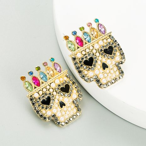 Exaggerated  Alloy Diamond Acrylic Skull Earrings NHLN270357's discount tags