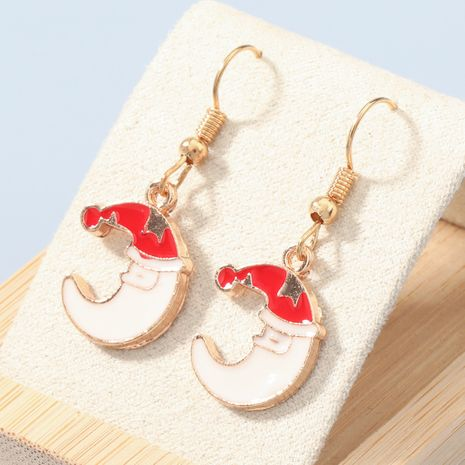 Christmas series alloy dripping oil moon earrings  NHJE270445's discount tags