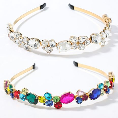 fashion  alloy diamond-studded geometric glass diamond flower headband  NHJE270451's discount tags