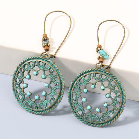 Boucles d'oreilles de peinture en aérosol cyan en alliage de motif rond rétro NHJE270461's discount tags
