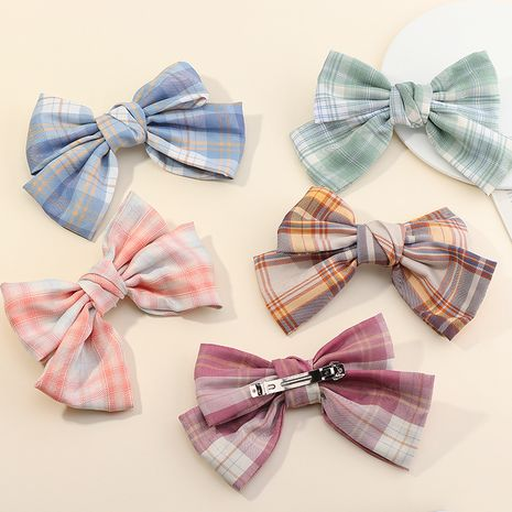 Small fresh plaid bow hairpin NHAU270518