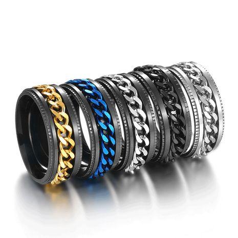 titanium steel rotatable chain embossed  men's titanium steel ring NHHF270331's discount tags
