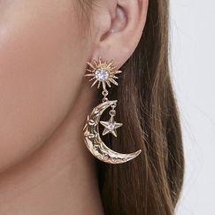 alloy symmetrical  fashion trendy diamond earrings NHQC270497